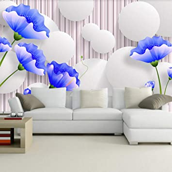Wall Art Murals Custom Photo Mural Wallpaper Blue Flower Modern Simple 3d Tv Background Wall Painting Living Room Bedroom Floral Wall Decoration Amazon Com