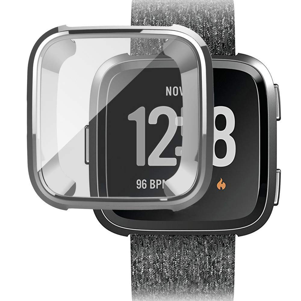 Ljnuanrg for Fitbit Versa Screen Protector Case ,Electroplated TPU All-Inclusive Case (Silver, ONE)