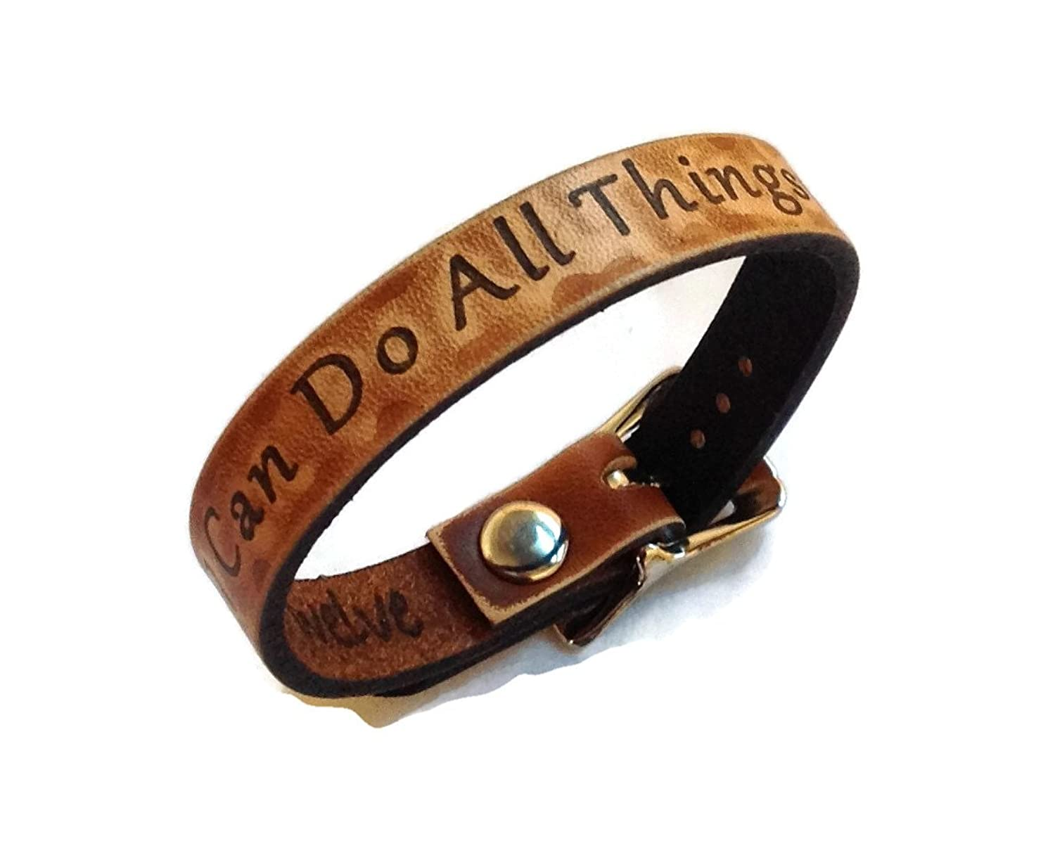 """I Can Do All Things"" Inspiration Collection Leather Bracelet 1/2"" Wide Made in USA"