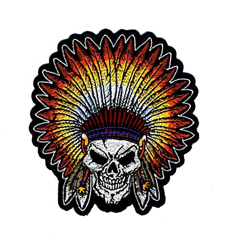 Embroidered Iron On Patch - Skull Indian Head Dress Small 4