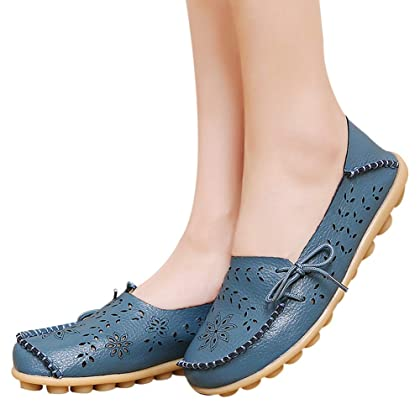 f17ec1f9fe7 ... SHIBEVER Women s Leather Loafers Moccasins Wild Driving Casual Flats  Oxfords Breathable Shoes ...
