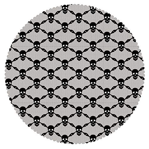 iPrint Round Tablecloth [ Gothic,Halloween Horror Theme Spooky Black Skulls Checkered Pattern with Skeleton Bones,Black White ] Decorative -