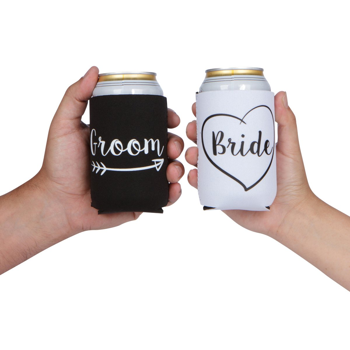 Cute Wedding Gifts - Bride and Groom Novelty Can Cooler Combo - Engagement Gift for Couples by The Plympton Company (Image #5)