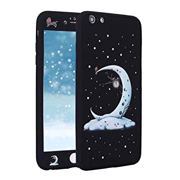 Funda para iPhone 6S Plus 360 Grados Integral Carcasa,iPhone 6 Plus Funda 360 ° con Dibujos Frontal y Trasera Full Body protección Completa Cover + ...