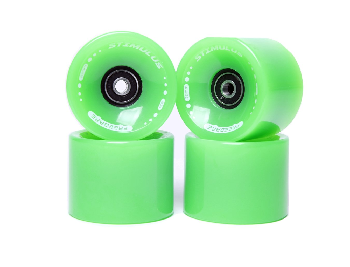 FREEDARE 70mm Longboard Wheels with ABEC-7 Bearings and Spacers(Green,Set of 4) by FREEDARE