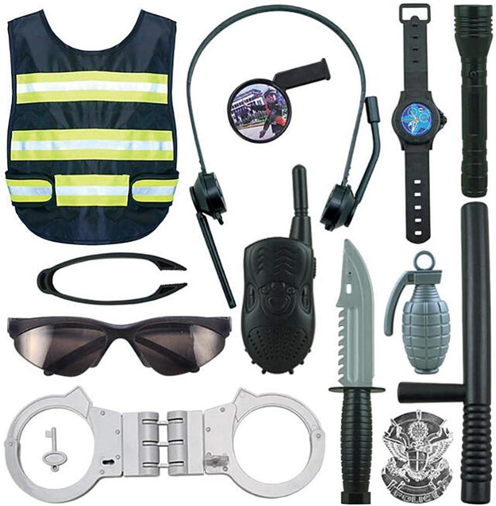 NUOBESTY 1 Set Niños Accesorios de Policía Juguetes Niño Policía Disfraz Swat Dress up Juego de Simulación Playset America Juego de rol para Niños Niñas Niños Cosplay