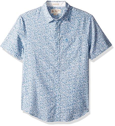Original Penguin Men's Short Sleeve Printed Floral Crosshatch Shirt, Deep Water, Medium