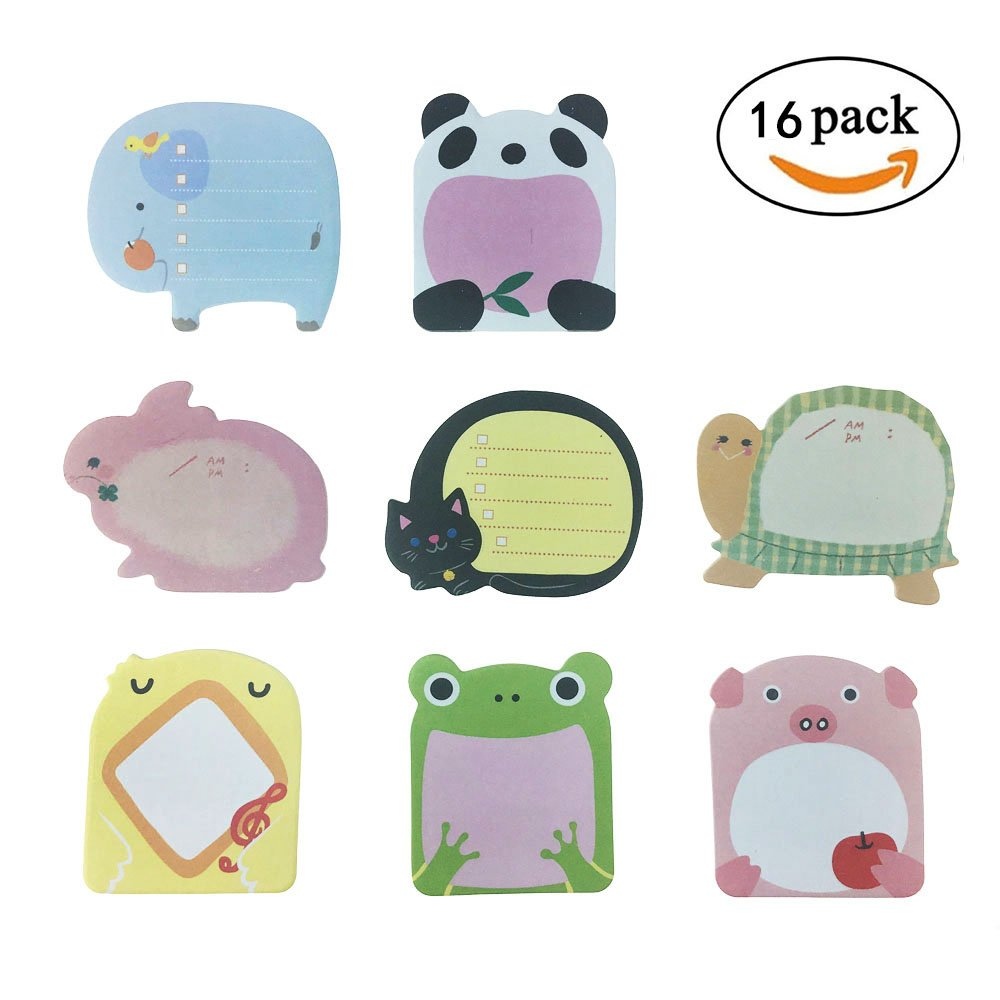 Super Sticky Notes- Zoo Cute Animals -16 Pastiglie per confezione - 20 fogli per riquadro - Per confezione 8 animali all'interno-80mm x 54 mm Creativee