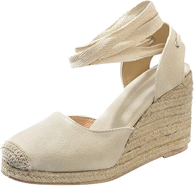 Talon Compens/é /à Enfiler Haut Plateforme Casual Chaussures OverDose Sandales Espadrilles Compens/ées en Tissu /élastique