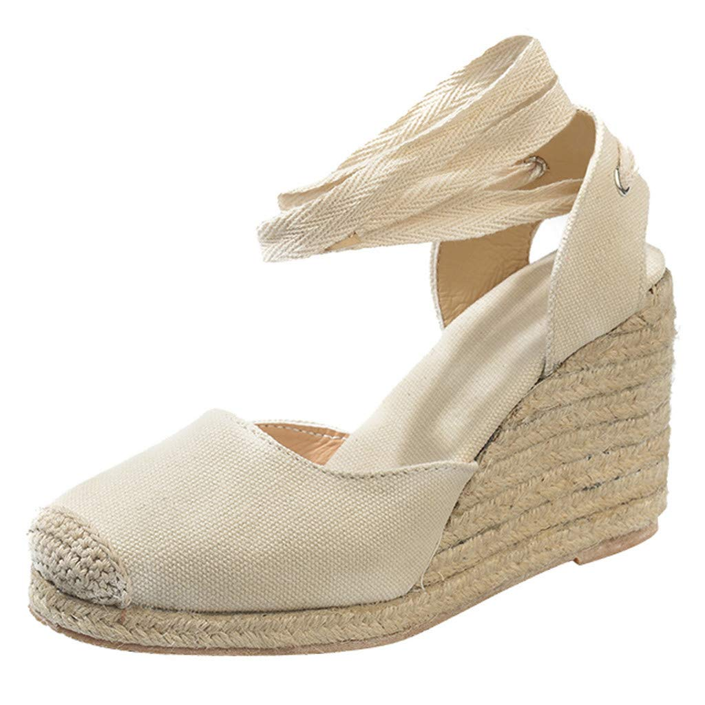 Qingell Womens Summer Casual Wedge Cross Strap Wedge Ankle Strap Sandals Platform Pump Shoes Sandals Beige