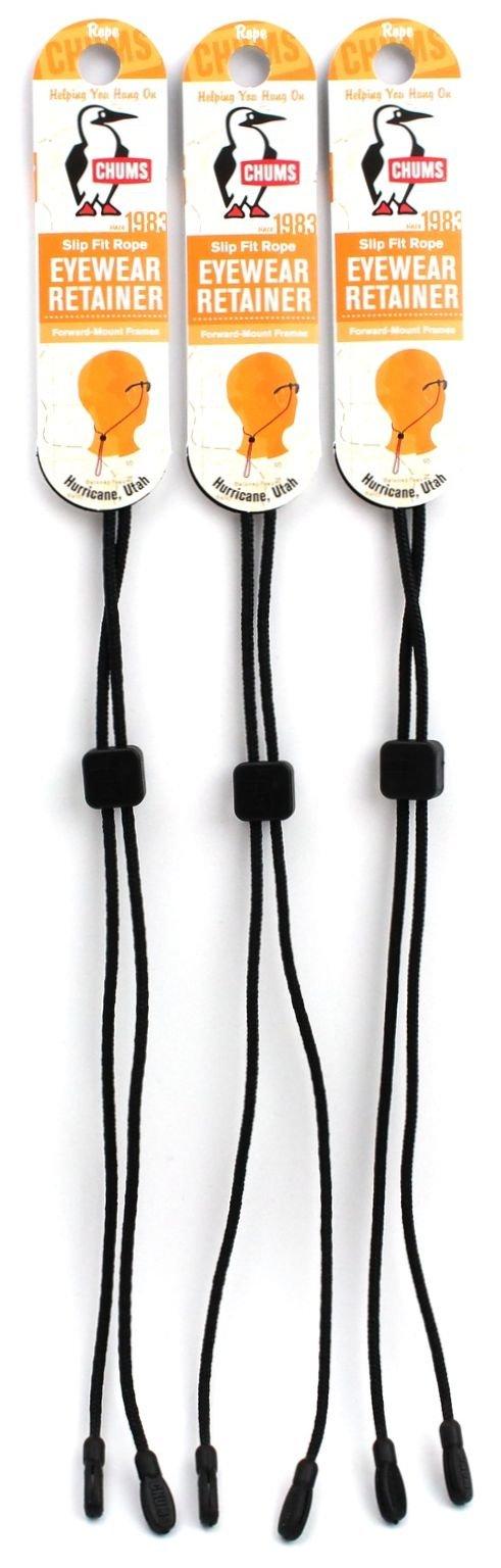 Chums Slip Fit Rope Eyewear Retainer, Black (3 Pack)