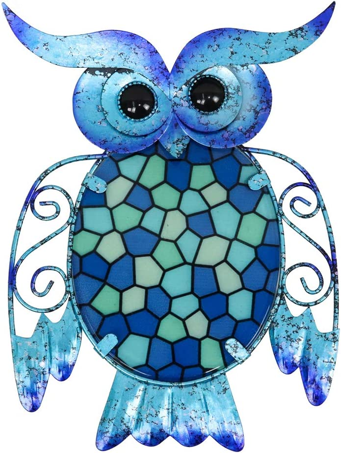 HONGLAND Metal Owl Wall Decor Blue Mosaic Glass Art Sculpture Hanging Glass Decorations for Home, Garden, Bedroom, Indoor, Outdoor