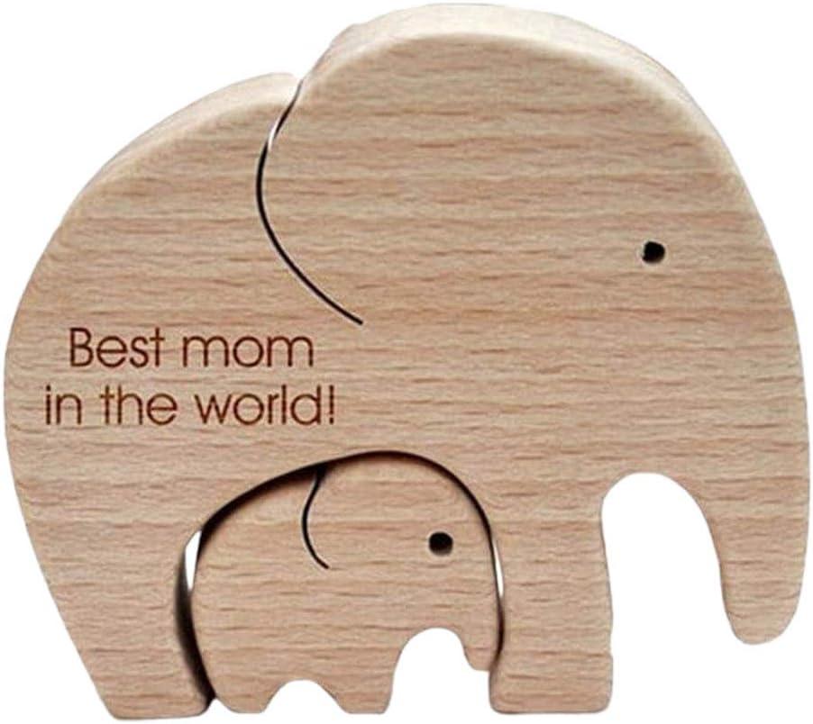 SUPYINI Elefante madre e hijo de madera elefantes artesanales familia adorno de madera mejor madre en el mundo adorno de madera decoración regalo para el día de la madre