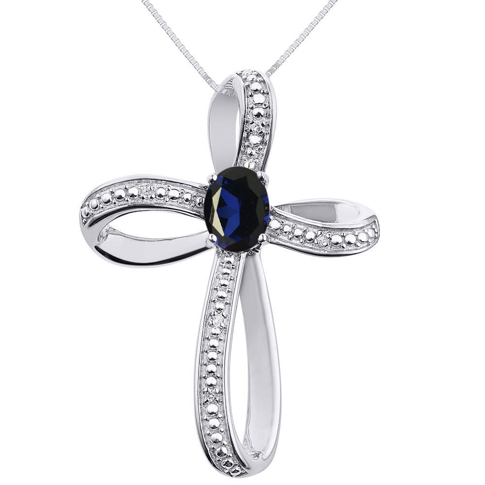 Diamond & Sapphire Cross Pendant Necklace Set In 14K White Gold with 18'' Chain