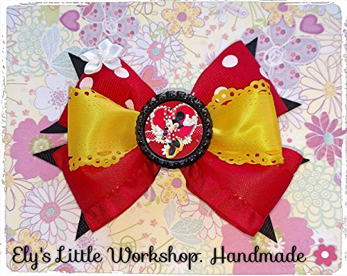 Minnie Mouse, Disney Inspired Hair Bow, Disney, Girls 100% Handmade, French barrette clip or in a White Croquet Headband. Exclusive and Unique