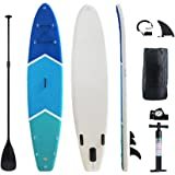 "Gout Surf Ultra-Light Inflatable Stand Up Paddle Board 6"" Thick 10' Non-Slip Deck All in One with Adjustable Paddle, Backpack, Fins, Coil Leash, Pump Kit"