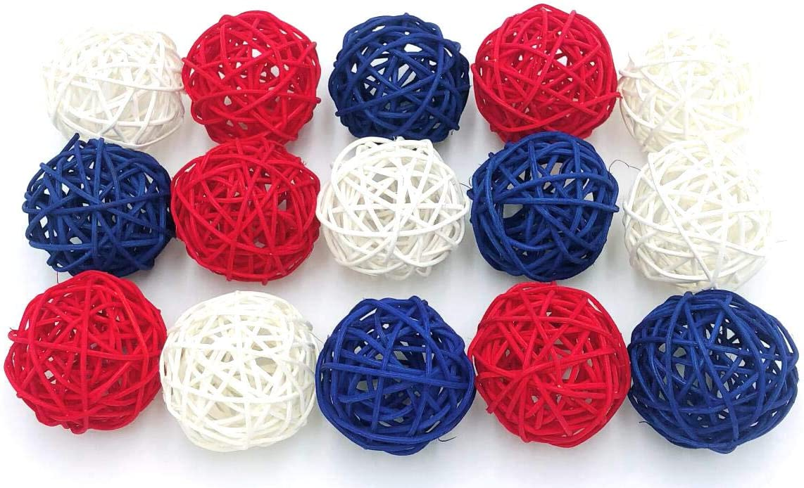 Thailand's Gifts : Small Blue, White, Red Rattan Ball, Wicker Balls, DIY Vase And Bowl Filler Ornament, Decorative Spheres Balls, Perfect For Decoration On Any Occasion 2-2.5 inch, 15 Pcs.
