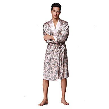 BOYANN Kimono Morgenmäntel für Herren Lang Bademäntel Satin ...