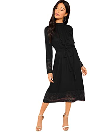 8810a5c2fa4 Floerns Women s Pleated Ruffle Trim Tie Waist Lace Trim Midi Dress Black XS
