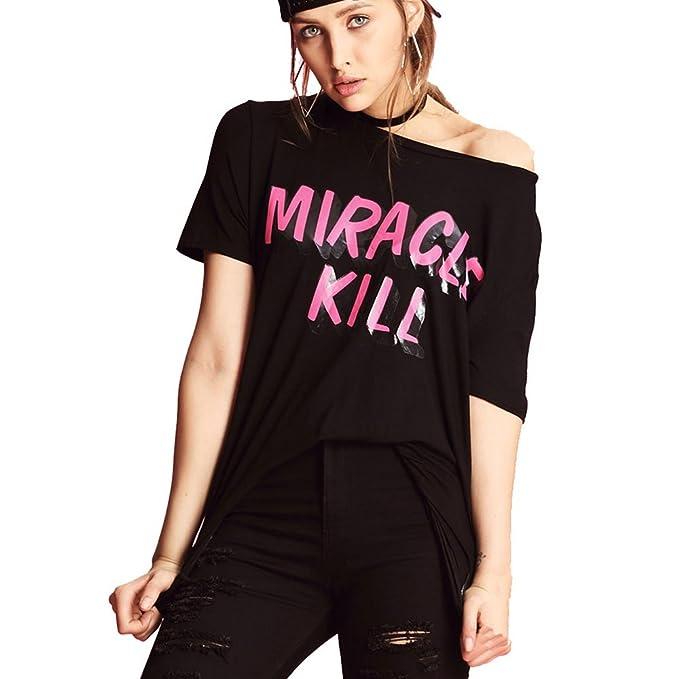 6213e2bb5f272 Miracle Kill Womens T-shirts Blouses Logo Graphic Crew Neck at ...