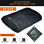 Xpose Safety Heavy Duty Mesh Tarp – Multipurpose Black Protective Cover with Air Flow - Use for Tie Downs, Shade, Fences, Canopies, Dump Trucks – Waterproof, Weather and Tear Resistant