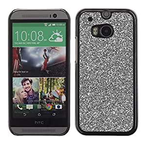 For HTC One M8 Case , Silver Sparkling Xmas Christmas - Diseño Patrón Teléfono Caso Cubierta Case Bumper Duro Protección Case Cover Funda