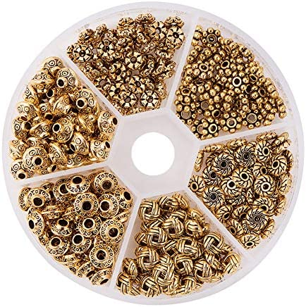 8 Style Large Hole Beads for DIY Bracelets /& Necklace 500 PCS Tibetan Bali Antique Silver Metal Spacer Beads for Jewelry Making Adults Bulk Alloy Bead Spacers Findings Bead Assortment w//Organizer