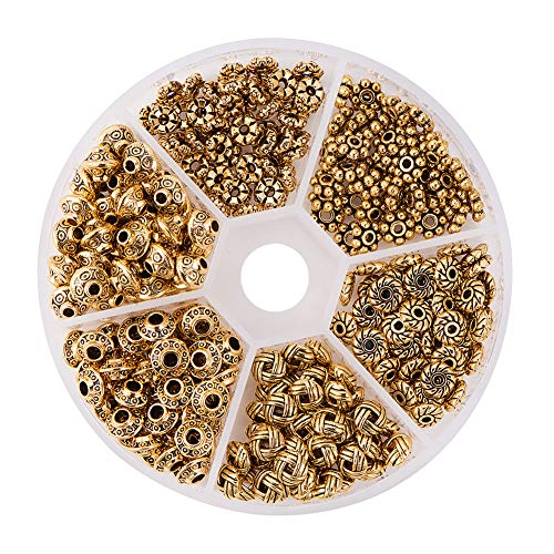 PH PandaHall 1Box About 300pcs Antique Golden Tibetan Style Spacer Beads Jewelry Findings Accessories for Bracelet Necklace Jewelry Making (5.5~6.5x2~7.5mm, Hole: 1~2mm) (3mm Plated Beads Gold)