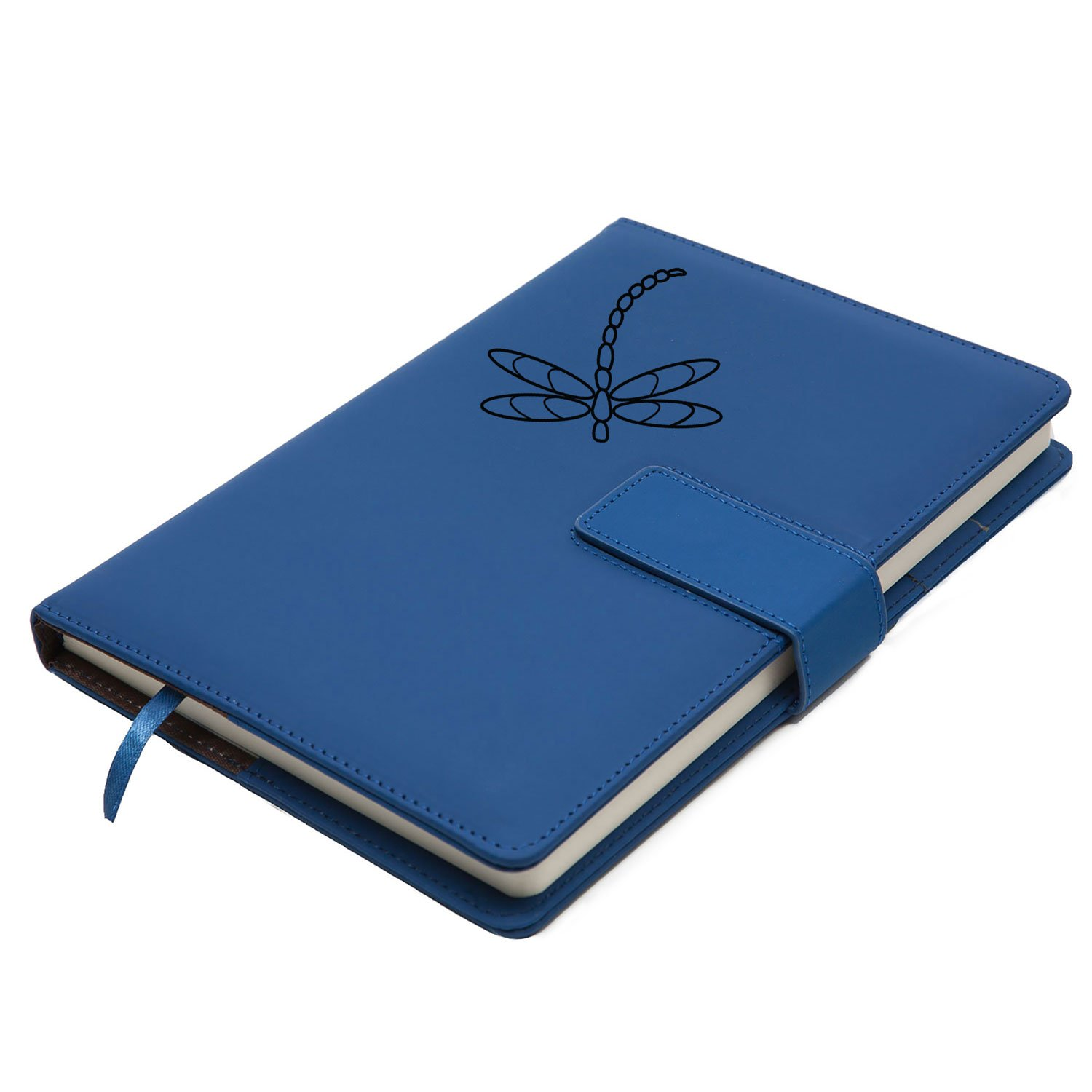 The Dragonfly Refillable Writing Journal | Faux Leather Cover, Magnetic Clasp + Pen Loop | Blank Notebook | 200 Lined Pages, 5 x 8 Inches for Travel, Personal, Poetry | Blue | The Amazing Office by The Amazing Office (Image #5)