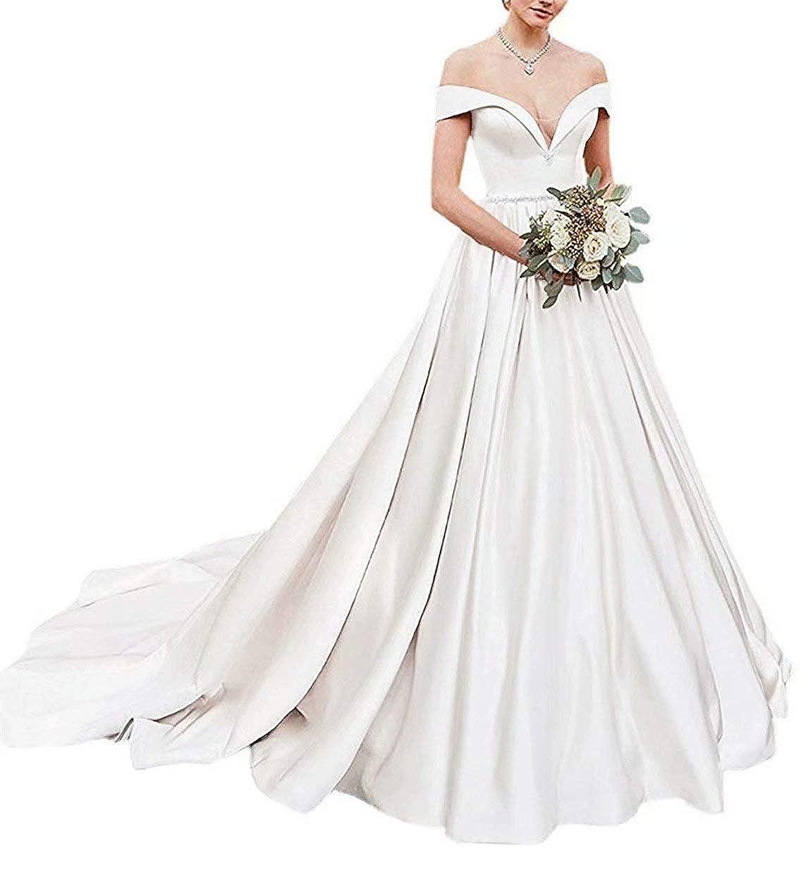 4e59e1314333f HellodayZ Women's Off Shoulder V Neck Satin Wedding Dress Bridal Gowns Long  at Amazon Women's Clothing store: