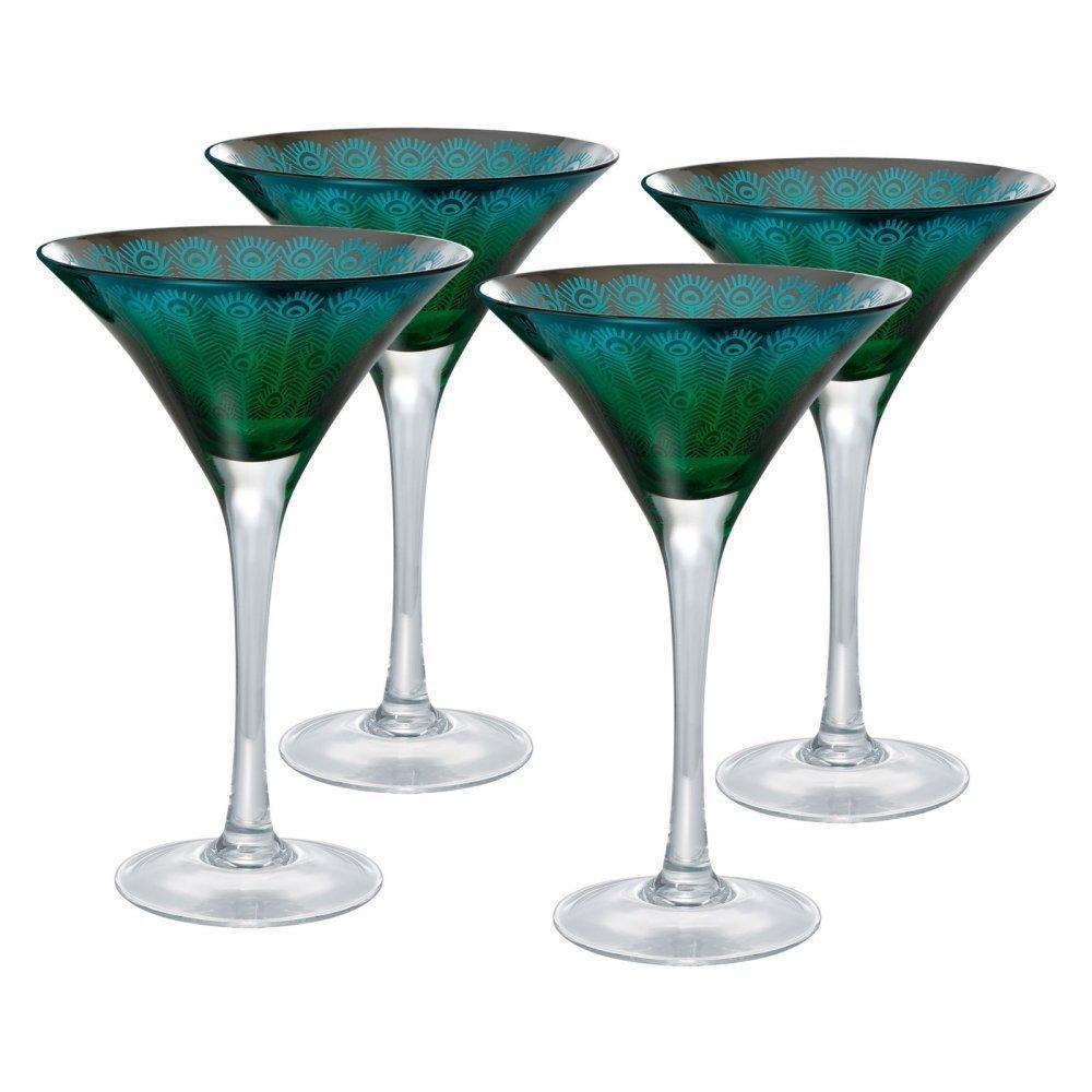 Artland 51182B Peacock Martini Glass, Set Of 4 8 oz