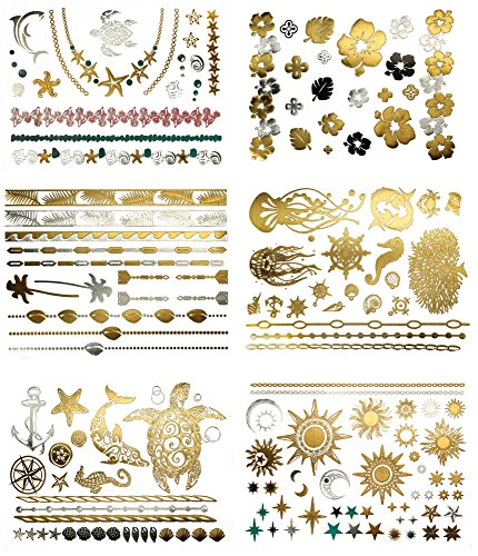 Premium Metallic Tattoos - 75+ Tropical Hawaiian-Inspired Shimmer Designs in Gold, Silver, Black - Temporary Fake Jewelry Tattoos - Bracelets, Feathers, Wrist & Arm Bands, & More (Aja (Hippie Tattoo Designs)