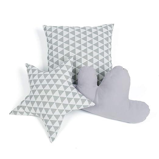 GIGALUMI Juego de Cojines para Almohada Decorativa Teepee Tent Gray en Forma de Nube de Estrellas y Cuadrada para habitación de niños