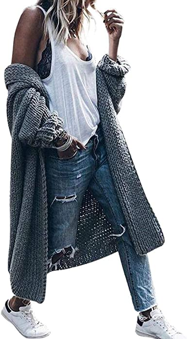 Womens Oversized Hooded Cardigan Thick Knit Sweater Jacket Big Coat