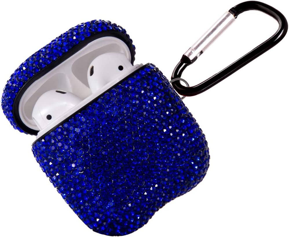 2020 Sparkly Diamond AirPods Case with Keychain, Shockproof Protective Premium Bling Rhinestone Cover Skin for AirPods Charging Case 2 & 1 (Blue C11)