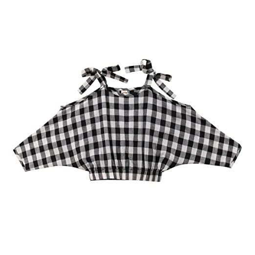 441bb821 Baby Toddler Kids Girls Check Plaid Blouses, Off Shoulder Strappy Batwing  Sleeve Casual T-