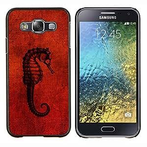 LECELL--Funda protectora / Cubierta / Piel For Samsung Galaxy E5 E500 -- Seahorse Red --