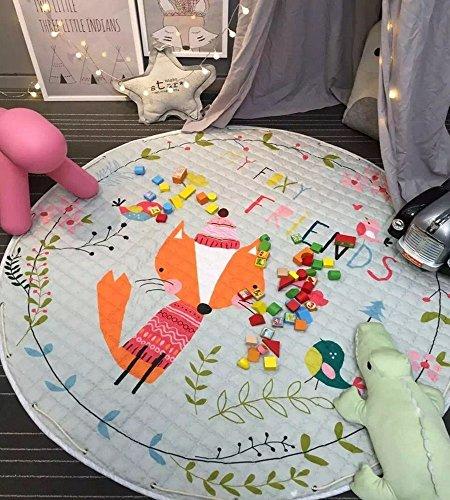 Round Kids' Room Rug,Lego Toys Storage Organizer Bag,Large Cotton Anti-slip Cartoon Animal Children's Floor Play Game Mat with Drawstring for Kids Room, 59x59 Inch (A Fox)