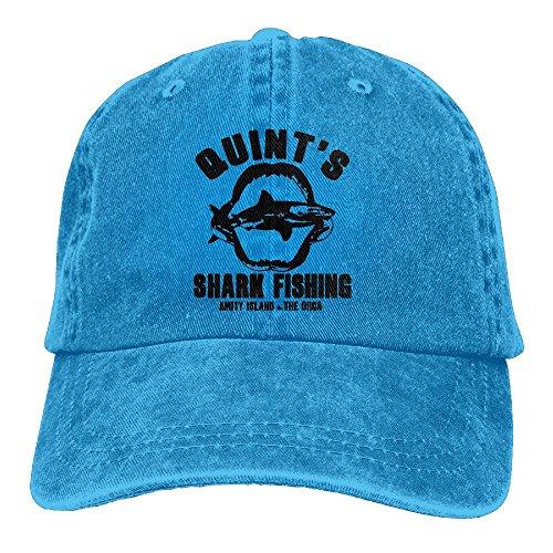 (Quint's Shark Fishing Denim Hat Adjustable Men's Plain Baseball Hat)