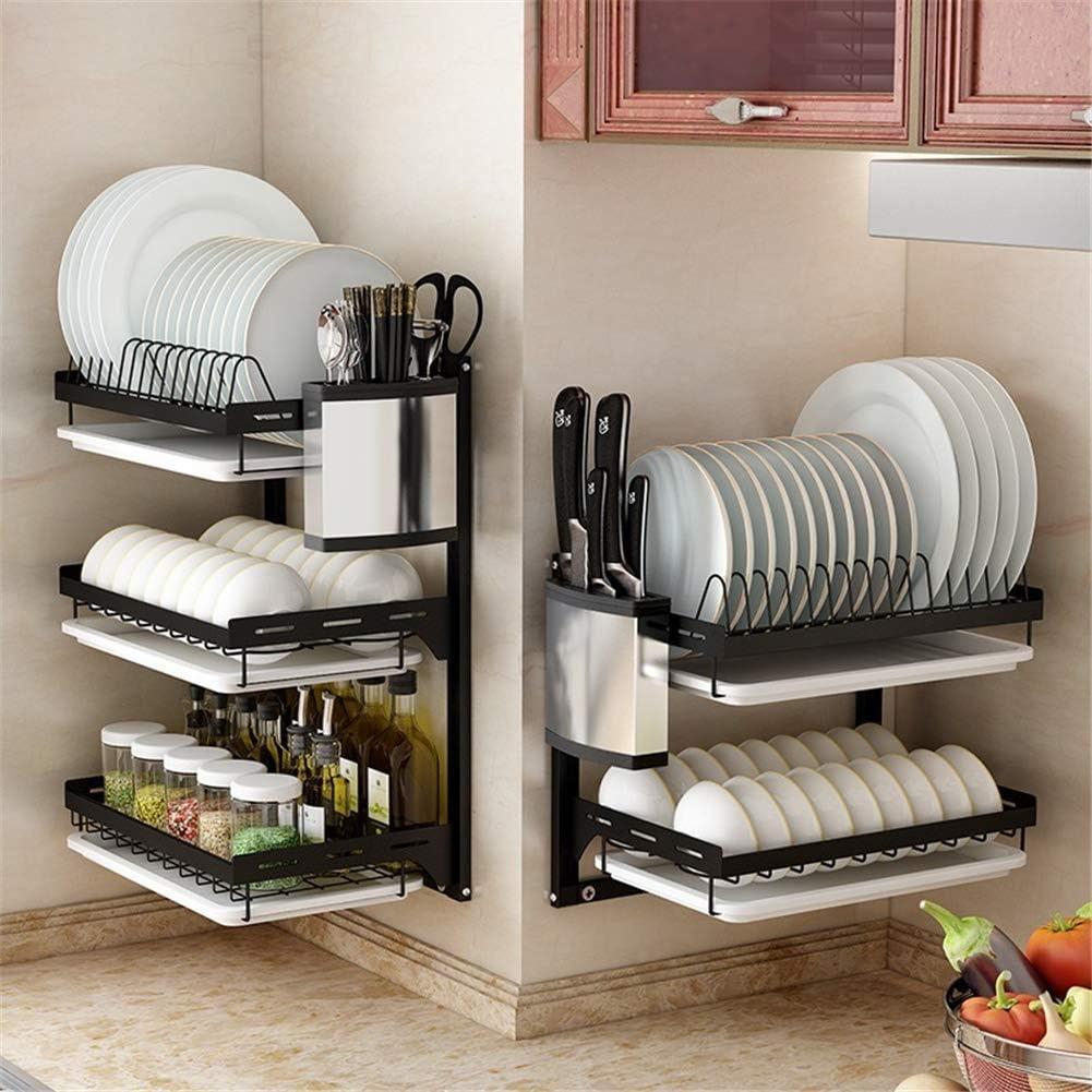 3層ブラックステンレス鋼皿乾燥ラック果物野菜収納バスケットと水切り板カウンタートップキッチン用品棚道具オーガナイザー
