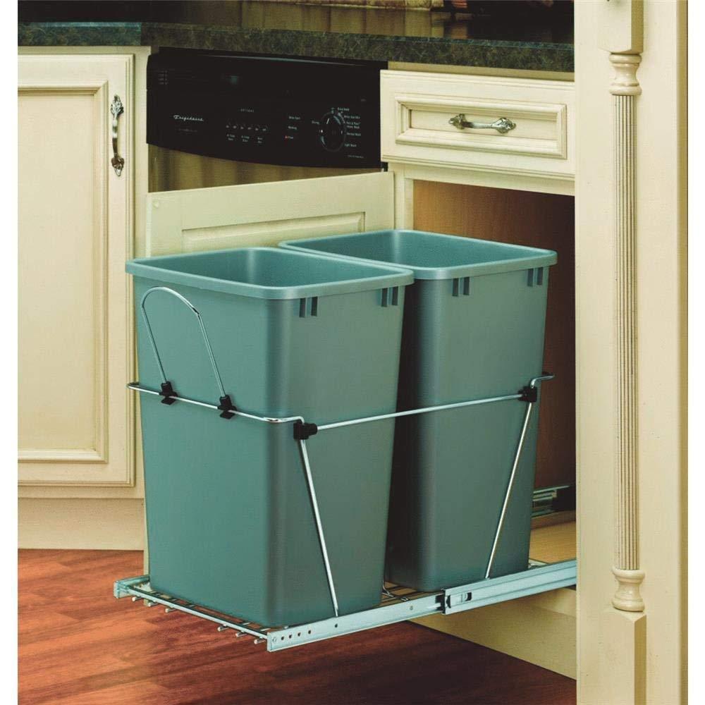 Rev-A-Shelf 35-Quart Double Waste Container, Silver RV-18PBC-17-5