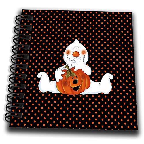 3dRose Beverly Turner Halloween Design - Sitting Ghost Holding Pumpkin on Black with Orange Dots - Mini Notepad 4 x 4 inch (db_287060_3)]()