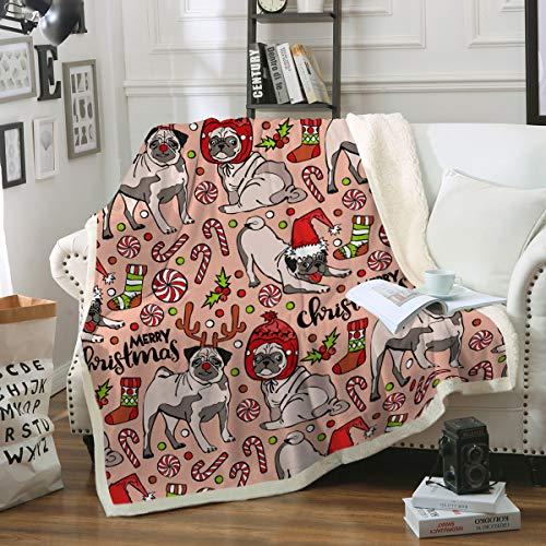 - Sleepwish Pug Fleece Blanket Kids Pet Blanket Dog Reversible Ultra Luxurious Plush Blanket Soft Sherpa Blanket Throw Blanket Pug Lover Gifts,Red Pink,Twin (60