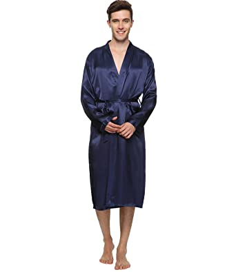 Herren Satin Kimono Robe Morgenmantel Lang Bademantel Kimono ...