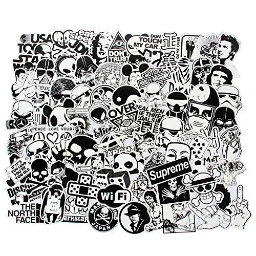 Cool Stickers Black White 100pcs Vinyl Decals Vintage Retro Pop Art...