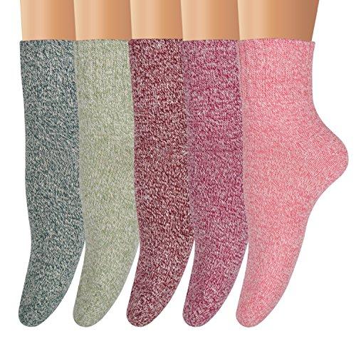 Ofeily Winter Socks 5 Pairs Women Vintage Wool Socks Thick Knit Warm Comfort Socks (ZYX-00105B)