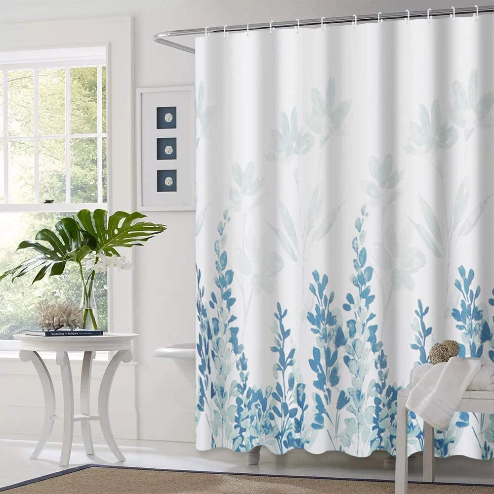 Tian Home Fabric Shower Curtain with 12 Hooks, Bathroom Waterproof Shower Curtains (Branches)
