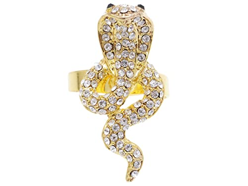 c71b6646244bf Amazon.com: Alilang Cobra Snake Ring Golden Tone Jet Black Clear ...