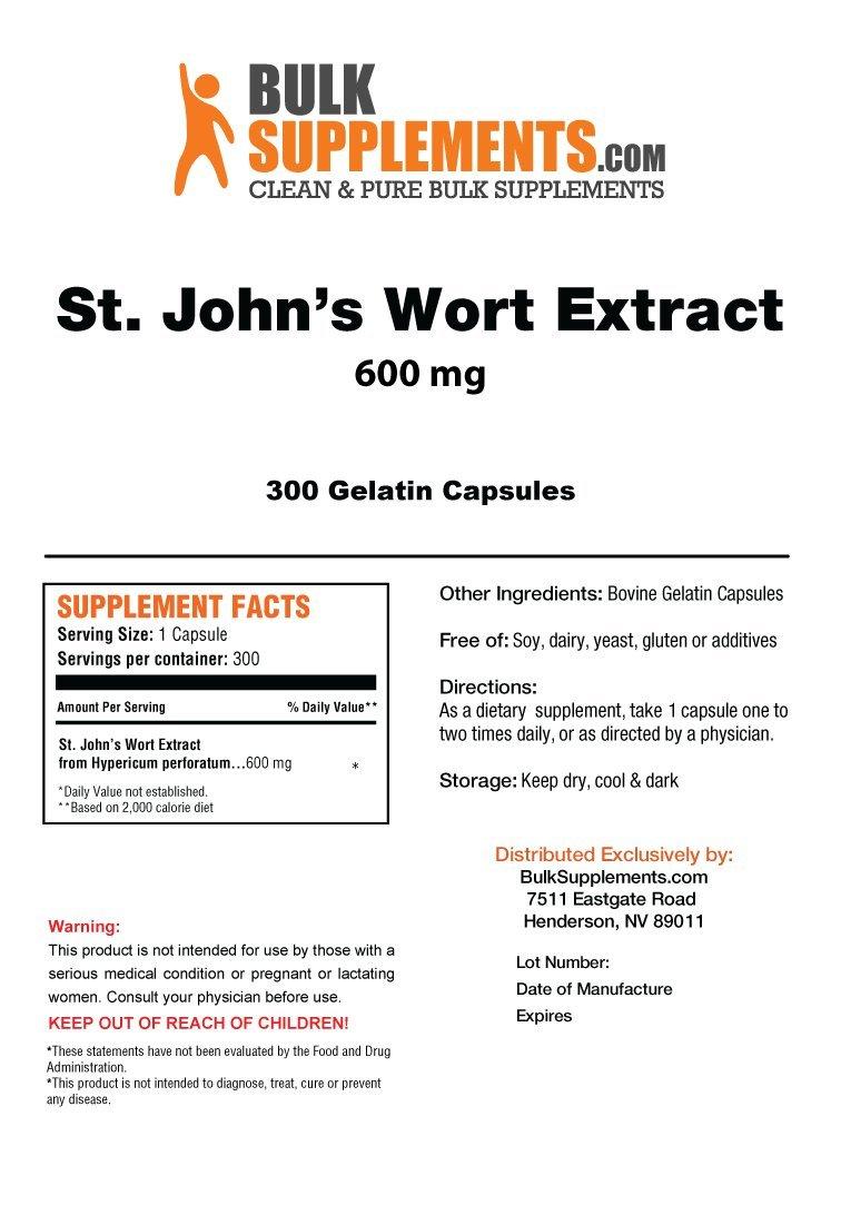BulkSupplements St. John's Wort Extract Capsules (300 Gelatin Capsules)