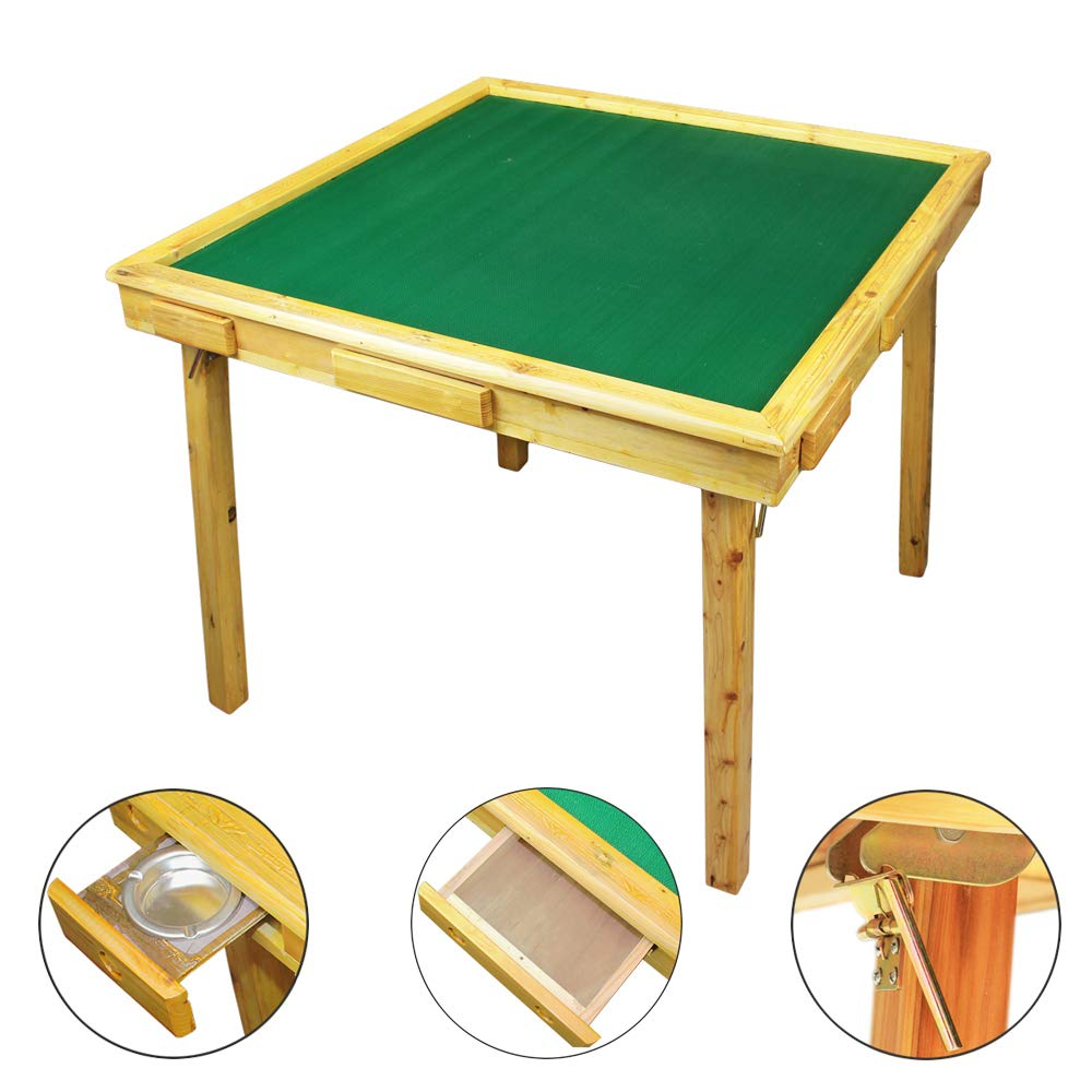 35'' Mahjong Game Portable Folding Reversible Wooden Square Large Table for Poker/Dominoes/Card/Paigow/Mahjong Game Table with Coin Holders